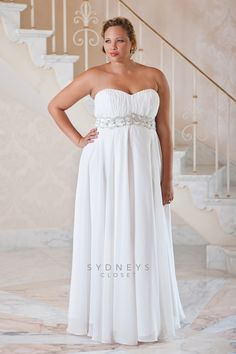 "Say I Do with our ""I Do, I Do"" Plus size wedding dress with jeweled belt. You'll love the full flowing skirt and empire waist. #plussizebridal #plussize #wedding  https://www.sydneyscloset.com/sydneys-closet/5026/"