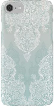 Lace & Shadows - soft sage grey & white Moroccan doodle iPhone 7 Cases