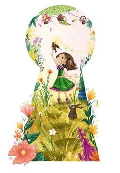 the Keyhole. Secret Garden Illustration: Mary and the Red-breasted Robin by Lucy Fleming Art And Illustration, Book Illustrations, Wallpaper Fofos, Belle Photo, Cute Drawings, Garden Art, Garden Drawing, Cute Art, Adult Coloring Pages