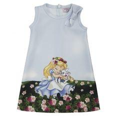 Monnalisa Girls Blue Alice in Wonderland Print Dress with Bow Detailing - Monnalisa from Chocolate Clothing UK