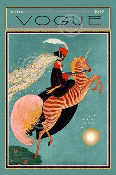 Art Deco Fantasy Print Vogue fashion whimsical girl riding a