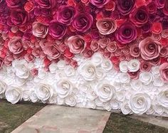 Wedding Backdrop - Large Paper Flowers - Paper Flower Backdrop - Wedding Reception Decor - Bridal Shower Decor - Floral Backdrop