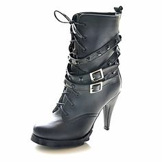 imitación piel botas de tacón de aguja de tobillo o botas con zapatos de fiesta por la noche remache – EUR € 19.59