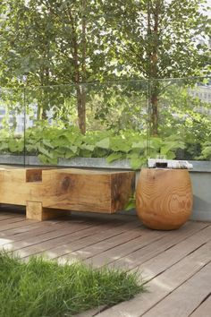 Gorgeous natural wood bench and table at an Eco-Conscious Hotel in New York