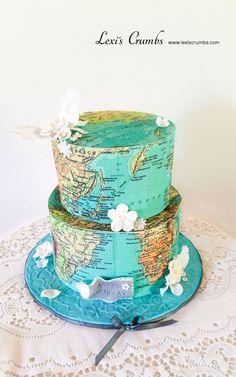 World map cake Cake Table Decorations, Dessert Decoration, Amazing Wedding Cakes, Amazing Cakes, Bon Voyage Cake, Map Cake, Globe Cake, Extreme Cakes, Cake For Husband