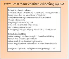 How I Met Your Mother Drinking Game. THIS WILL HAPPEN!!