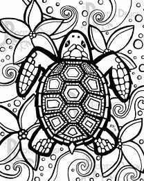 Image result for Printable Turtle Coloring Pages Doodle Art