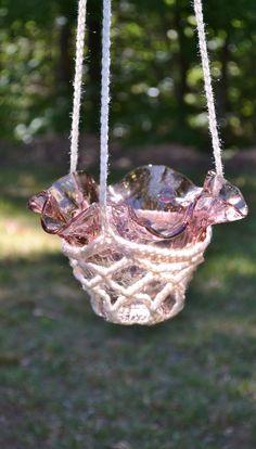 Crochet Candle Holder Hanging Plant Potpourri by LittlestSister