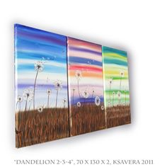 Landscape DANDELION Large Floral triptych Painting on canvas wall art set of 3 KSAVERA Original Abstract Flowers Acrylic Contemporary. €140.00, via Etsy.