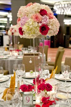 Beautiful statement centerpiece of hydrangea, peonies and roses.