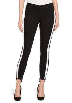William Rast™ Women's Tux Stripe Ankle Skinny Jeans - Black Road - 26 Average