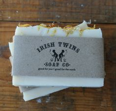 Irish Twins Soap Co.  - Peace and Love Soap, $7.00  It's got Komboucha tea, hemp seed oil, French Green Clay powder, calendula flowers and the essential oils of patchouli, orange, lavender & bergamot. Delightful to smell and delicious on your skin.