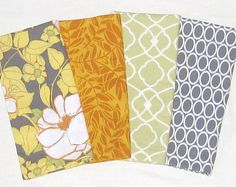 Large Cloth Napkins - Set of 10 - Gray Ovals, Green Tile, Yellow Gray Flowers, Orange Leaves, Light Orange Pink Yellow Blue Floral on Etsy, Sold