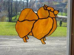 Stained Glass Dog Pomeranium Custom Made by StainedGlassbyBetty
