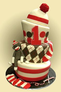 Sock Monkey cake- Ok mom, this could so be Peyton's first bday cake