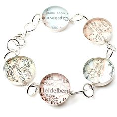 Something Old, Something New Vintage Map Charm Bracelet You Select any 5 Places in the World!
