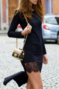 Black High Low Round Neck Long Sleeve Dress