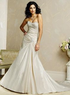 Strapless Beaded Lace Taffeta A-line/princess Champagne Wedding Dress...Because I refuse to wear white on my wedding day.