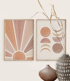 Diy Art, Diy Wall Art, Wall Art Sets, Boho Diy, Boho Decor, Pastel Walls, Boho Home, Moon Print, Diy Canvas Art