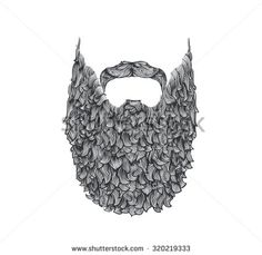 long beard, line art illustration, hand drawn