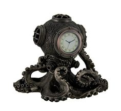 Resin Desk Clocks Bronze Finish Steampunk Octopus Diving Bell Clock Statue X 6 X 5 Inches Bronze Cold Cast Resin 6 Inches Tall Antique Bronze Finish Hand Painted Accents Makes A Great Gift Steampunk Octopus, Steampunk Clock, Steampunk House, Steampunk Design, Steampunk Artwork, Gothic Steampunk, Kraken, Newton's Cradle, Unique Desks