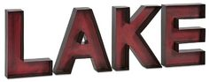 Large Red Metal 'LAKE' Letters Wall Shelf Sign [Kitchen] Def Planet defplanet.com