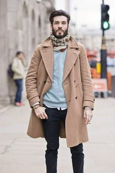 Men's Beige Print Scarf, Light Blue Crew-neck Sweater, Camel Overcoat, White Longsleeve Shirt, and Black Jeans