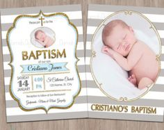 -- This listing is for a personalized image of the Grey stripe & Gold Glitter Baptism invitation (this is a digital file, no materials will be shipped). FOR OTHER BAPTISM DESIGNS Boy Baptism, Christening, Baptism Invitations, Invites, Baby Party, Sons, Printables, Etsy, Baptisms