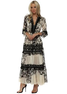 f5941d3d9d9e LAURIE & JOE Cream & Black Baroque Print Tiered Maxi Dress