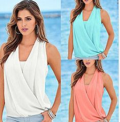 Fashion Women Summer Casual Vest Top Sleeveless Blouse Tank Blouse Tops T-Shirt #Unbranded #TankCami #Casual