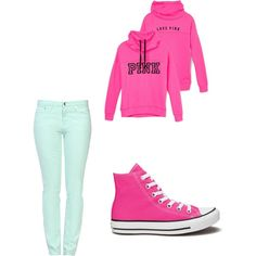 Love pink by myanhtran209 on Polyvore featuring polyvore, interior, interiors, interior design, home, home decor, interior decorating, Victoria's Secret, Love Moschino and Converse