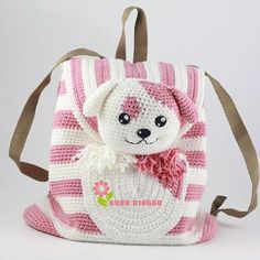 ideas for crochet kids purse girls Crochet Backpack, Bag Crochet, Crochet Purses, Crochet Toys, Crochet Stitches, Kids Knitting Patterns, Baby Patterns, Crochet Patterns, Mochila Crochet