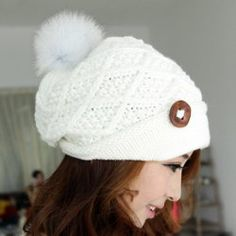 Wholesale Warm Fuzzy Ball Pure Color Women's Knitted Woolen Yarn Hat (COFFEE,ONE SIZE), Hats - Rosewholesale.com