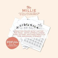 The Millie style is a modern take on brush script lettering, so there are some unique letters that create a fun handlettering style! 76 pages of practicing the Millie with Suzy Grace from How to Handletter. #handletter #printables #handletteringforbeginners #brushcalligraphy #brushlettering #themilliehandlettering #themillie #handletteringprintables Hand Lettering Quotes, Script Lettering, Lettering Styles, Brush Lettering, Hand Lettering For Beginners, Calligraphy For Beginners, Tombow Brush Pen, Brush Script, Handwritten Letters