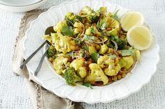 Indian spiced cauliflower and broccoli salad