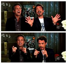 mark ruffalo and Robert downey jr  | the hulk and iron man