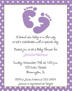 footprint baby shower invitations baby shower ideas purple baby shower themes 500x625