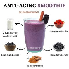 Healthy Juice Recipes, Easy Smoothie Recipes, Healthy Smoothies, Shake Recipes, Healthy Meals For Kids, Healthy Drinks, Healthy Food, Fruit Smoothies, Smoothie Diet Plans