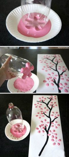 Soda Bottle Tree Before you recycle your empty bottles, dip them in paint to create this easy art piece.