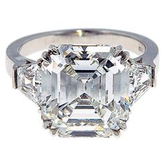 Emerald Cut Diamond Ring | From a unique collection of vintage solitaire rings at http://www.1stdibs.com/jewelry/rings/solitaire-rings/