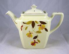 Fabulous Rare 1930's Hall's Superior Jewel Tea Autumn Leaf Newport Teapot