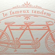 Valentine's Day Love Wedding Anniversary Engagement Bicycle Letterpress Card Famous Bicycle Built for Two in Light Pink