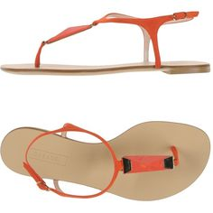 Casadei Thong Sandal ($220) ❤ liked on Polyvore featuring shoes, sandals, orange, flat leather sandals, orange flat shoes, flat sandals, orange flat sandals and orange thong sandals