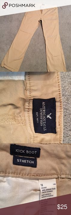 Tall khaki pants Lovely khaki pants from American Eagle. Tall length. Only worn once or twice. In excellent condition. From a smoke free home. American Eagle Outfitters Pants Boot Cut & Flare