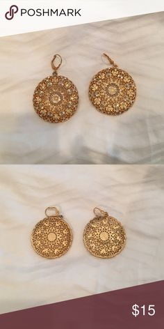 "Gold and cz earrings These are beautiful costume earrings. Diameter is 1 1/2"". Jewelry Earrings"