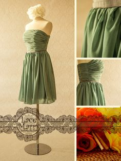 Soft Chiffon Strapless Bridesmaid Dress  Comes with by LaceMarry, $79.00