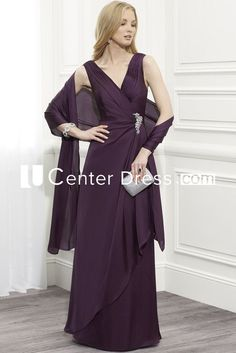 $123.29-Charming Sleeveless V-Neck Chiffon Purple Long Mother Of The Bride Dress With Cape. http://www.ucenterdress.com/draped-sleeveless-v-neck-chiffon-mother-of-the-bride-dress-with-cape-pMK_300260.html.  Tailor Made mother of the groom dress/ mother of the brides dress at #UcenterDress. We offer a amazing collection of 800+ Mother of the Groom dresses so you can look your best on your daughter's or son's special day. Low Prices, Free Shipping. #motherdress