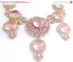 ON SALE Pink Czech Statement Necklace Lilien by CrimsonVintique, $250.75