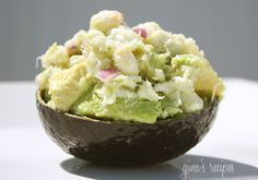 Avocado and Crab Salad  High Protein, Low Carb  1 medium Hass avocado, 4 oz lump crab meat, 2 TBsp chopped sweet onion, 1 lime, 1 TBsp chopped cilantro, 1 tsp olive oil, salt & pepper  Calories: 210, Protein: 10 Carbs: 9g, Fiber: 6g, Fat: 16.6g