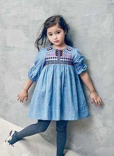 Nellystella Clover Dress in Denim – – PRE-ORDER Source: wholesomelinen Fashion Kids, Little Girl Fashion, Little Girl Dresses, Girls Dresses, Outfits Niños, Cute Outfits For Kids, Kid Styles, Kind Mode, Kids Wear